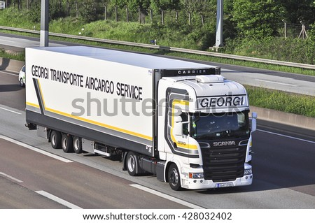 FRANKFURT,GERMANY - MAY 26: truck on the highway on May 26,2016 in Frankfurt, Germany.