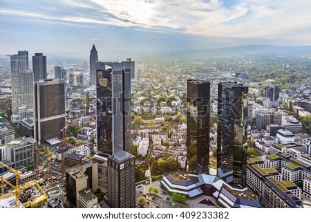FRANKFURT, GERMANY - MAY 2, 2015: view to financial district in Frankfurt, Germany. The skyscrapers are the symbol for Frankfurt. The citx is also called Mainhattan. - stock photo