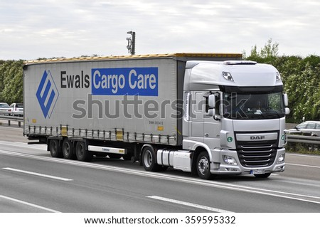 FRANKFURT,GERMANY-OCT 08: truck on the highway on October 08,2015 in Frankfurt,Germany.