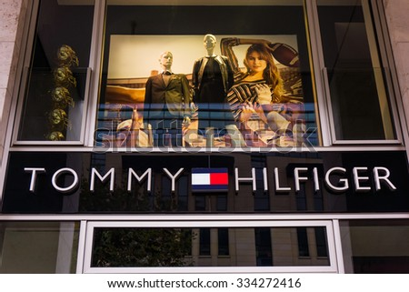 FRANKFURT, GERMANY - October 24,2015:Detail of the entrance to a Tommy Hilfiger store.Tommy Hilfiger is an American fashion,apparel,design,fragrance retail company, offering consumers low end products