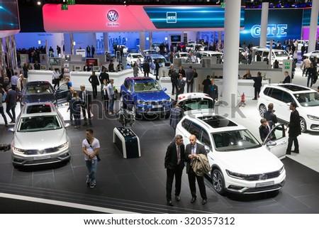 FRANKFURT, GERMANY - SEP 16, 2015: New Volkswagen cars shown during IAA 2015 motor show. - stock photo