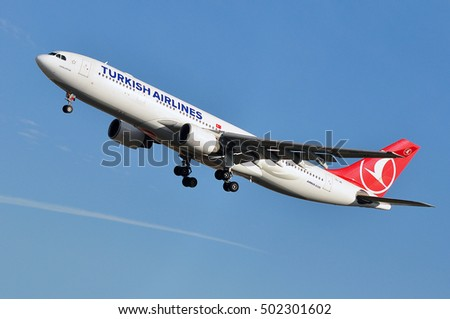 FRANKFURT,GERMANY-SEPT 29:Airbus A330 of Turkish Airlines  approaching airport on September 298,2016 in Frankfurt,Germany.