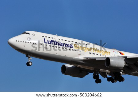 FRANKFURT,GERMANY-SEPT 29:Boeing 747-8 of Lufthansa lands at Frankfurt airport on September 29,2016 in Frankfurt,Germany.Lufthansa is a German airline and also the largest airline in Europe.