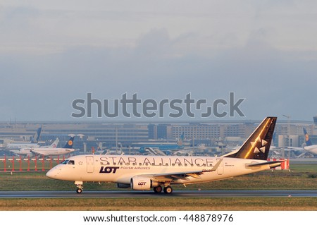 FRANKFURT,GERMANY-SEPT 24:Embraer 170 of LOT Polish Airlines the Frankfurt airport on September 24,2015 in Frankfurt,Germany