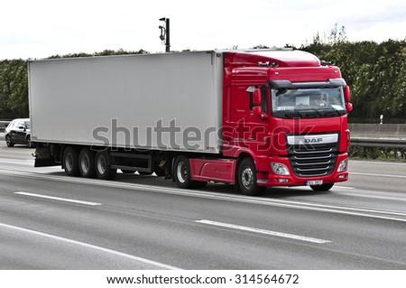 FRANKFURT,GERMANY-SEPT 04: truck on the highway on September 04,2015 in Frankfurt,Germany. - stock photo