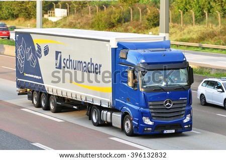 FRANKFURT,GERMANY - SEPT 24: truck on the highway on September 24,2015 in Frankfurt, Germany.