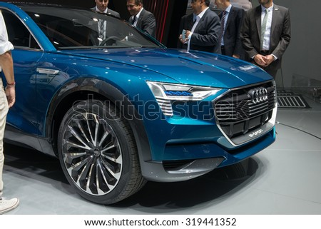 FRANKFURT, GERMANY - SEPTEMBER 16, 2015: Frankfurt international motor show (IAA) 2015. Audi e-tron quattro concept - world premiere.