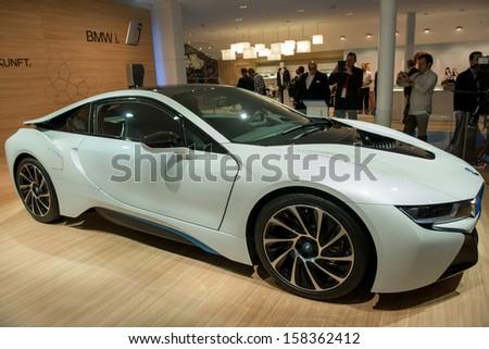 FRANKFURT, GERMANY - SEPTEMBER 11: Frankfurt international motor show (IAA) 2013. BMW i8 plug-in-hybrid sportscar - world premiere - stock photo