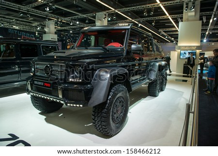 FRANKFURT, GERMANY - SEPTEMBER 11: Frankfurt international motor show (IAA) 2013. BRABUS B63S-700 - Based on MB G63 AMG 6x6