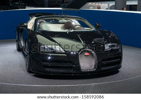 FRANKFURT, GERMANY - SEPTEMBER 11: Frankfurt international motor show (IAA) 2013. Bugatti Veyron 16.4 Grand Sport Vitesse �¢??Jean Bugatti�¢?� - world premiere - stock photo