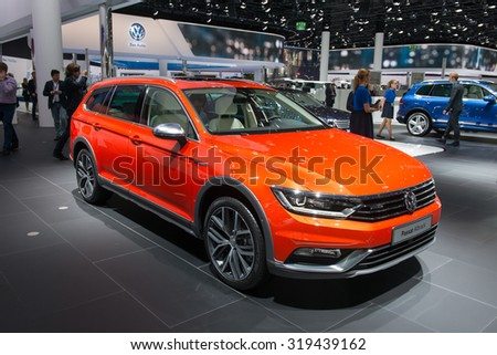 FRANKFURT, GERMANY - SEPTEMBER 16, 2015: Frankfurt international motor show (IAA) 2015. Volkswagen Passat Alltrack