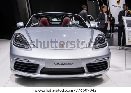 Frankfurt, Germany, September 13, 2017: metallic silver Porsche 718 Boxster at 67th International Motor Show (IAA), cabrio