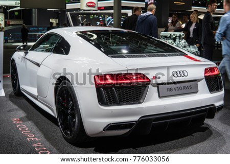 Frankfurt, Germany, September 13, 2017: white Audi R8 Spyder V10 Convertible Roof Module at 67th International Motor Show (IAA)