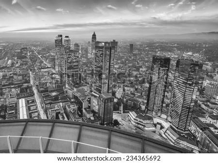 Frankfurt, Germany. Stunning city skyline at night. - stock photo