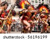 FRANKFURT - JUNE 26. Bolivians performing a war dance at the Parade der Kulturen. June 26, 2010 in Frankfurt, Germany. - stock photo