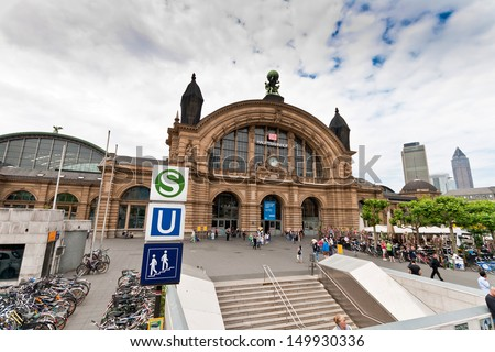 FRANKFURT - MAY 27: Facade of Frankfurt Central station on May 27, 2012 in Frankfurt, Germany. Central Station is the busiest railway station in Germany. - stock photo