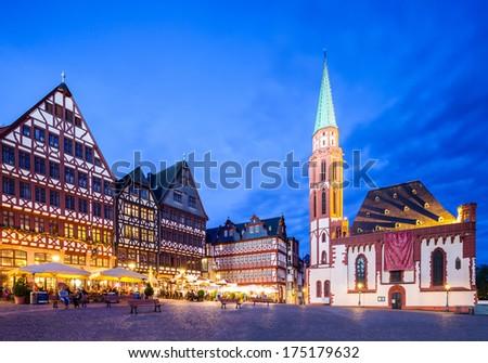 Frankfurt old city Altstadt and Roemerberg at night - stock photo