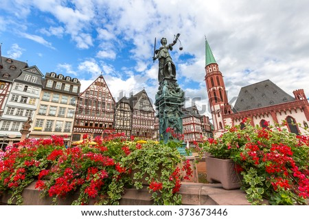 Frankfurt old town with the Justitia statue. Germany - stock photo