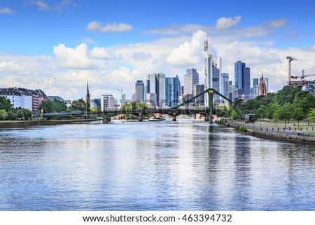 FRANKFURT ON THE MAIN, GERMANY - CIRCA JUNE, 2016: The Main river and City view in Frankfurt on the Main, Germany