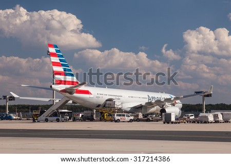 FRANKFURT - SEP 11: Airbus A330-243 from American Airlines at the Frankfurt International Airport. September 11, 2015 in Frankfurt Main, Germany - stock photo