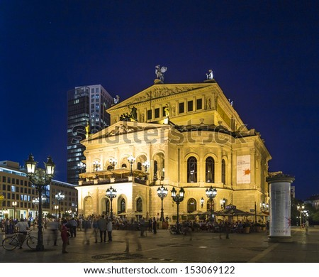 FRANKFURT - SEP 5: Alte Oper at night on September 5, 2013 in Frankfurt, Germany. Alte Oper is a concert hall built in the 1970s on the site of and resembling the old Opera House destroyed in WWII.