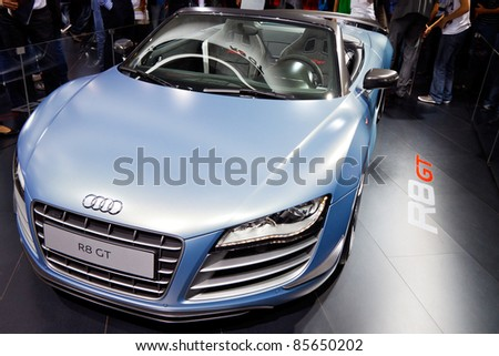 FRANKFURT - SEP 24: Audi R8 shown at the 64th IAA Motor Show (Internationale Automobil-Ausstellung) in Frankfurt, Germany, on September 24, 2011.