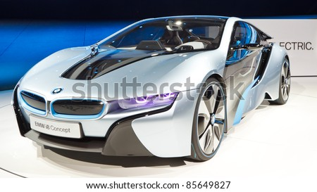 FRANKFURT - SEP 24: BMW i8 Concept car shown at the 64th IAA Motor Show (Internationale Automobil-Ausstellung) in Frankfurt, Germany, on September 24, 2011. - stock photo