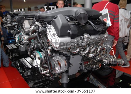"FRANKFURT - SEP 20: BMW ""M"" Engine - Efficient Dynamics on 63rd IAA (Internationale Automobil Ausstellung) on September 2009 in Frankfurt, Germany. - stock photo"
