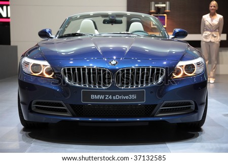 FRANKFURT - SEP 15: BMW new Z4 sDrive35i in front view on 63rd IAA (Internationale Automobil Ausstellung) on September 15, 2009 in Frankfurt, Germany. - stock photo
