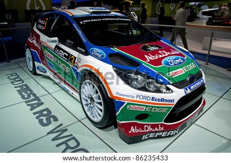 FRANKFURT - SEP 25:   Ford Fiesta RS WRC Rally Car presented at the 64th Internationale Automobil Ausstellung (IAA) on September 25, 2011 in Frankfurt, Germany.