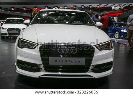 FRANKFURT - SEPT 16: Audi A3 ultra shown at the 66th IAA (Internationale Automobil Ausstellung) on September 16, 2015 in Frankfurt, Germany. - stock photo