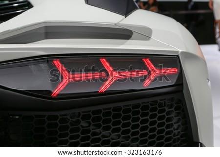 FRANKFURT - SEPT 15: Back light of Lamborghini Aventador LP 750-4 SV Roadster shown at the 66th IAA (Internationale Automobil Ausstellung) on September 15, 2015 in Frankfurt, Germany. - stock photo