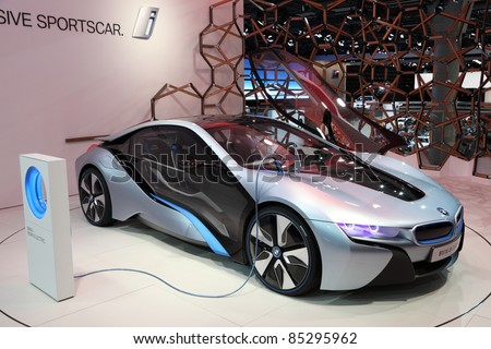 FRANKFURT - SEPT 24: BMW electric concept car i8 on display at the 64th IAA (Internationale Automobil Ausstellung) on September 24, 2011 in Frankfurt, Germany - stock photo