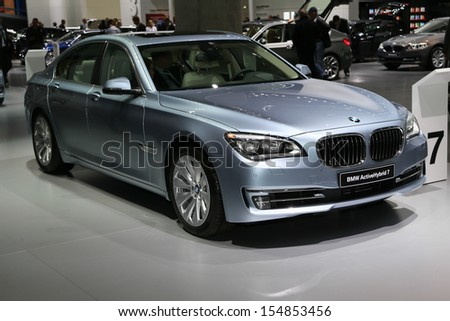 FRANKFURT - SEPT 10: BMW 7 Series ActiveHybrid shown at the 65th IAA (Internationale Automobil Ausstellung) on September 10, 2013 in Frankfurt, Germany.