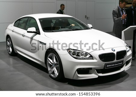 FRANKFURT - SEPT 10: BMW 6 Series 640i Grand Coupe shown at the 65th IAA (Internationale Automobil Ausstellung) on September 10, 2013 in Frankfurt, Germany. - stock photo