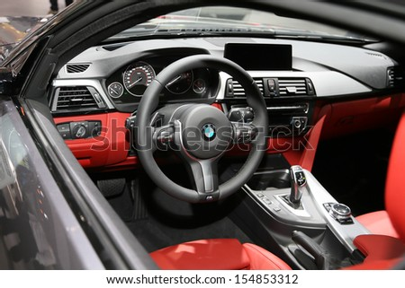 FRANKFURT - SEPT 10: Cockpit of BMW 4 Series Coupe shown at the 65th IAA (Internationale Automobil Ausstellung) on September 10, 2013 in Frankfurt, Germany.