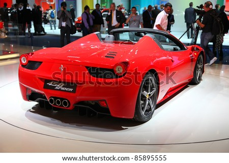 FRANKFURT - SEPT 13: Ferrari 458 Spider presented as world premiere at the 64th IAA (Internationale Automobil Ausstellung) on September 13, 2011 in Frankfurt, Germany.