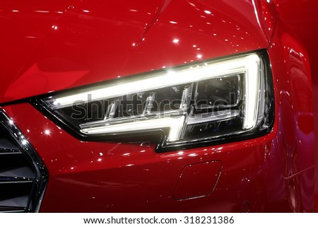 FRANKFURT - SEPT 16: head light of Audi A4 2.0 T quattro shown at the 66th IAA (Internationale Automobil Ausstellung) on September 16, 2015 in Frankfurt, Germany. - stock photo