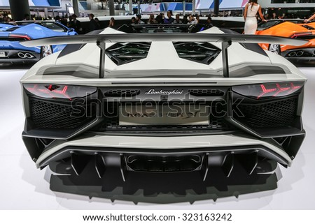 FRANKFURT - SEPT 15: Lamborghini Aventador LP 750-4 SV Roadster shown at the 66th IAA (Internationale Automobil Ausstellung) on September 15, 2015 in Frankfurt, Germany. - stock photo