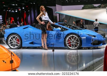 FRANKFURT - SEPT 15: Lamborghini Huracan LP 610-4 Spyder shown at the 66th IAA (Internationale Automobil Ausstellung) on September 15, 2015 in Frankfurt, Germany. - stock photo