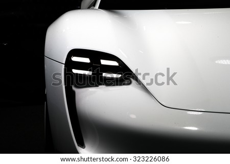 FRANKFURT - SEPT 16: Lights of Porsche Mission E Concept World Premiere shown at the 66th IAA (Internationale Automobil Ausstellung) on September 16, 2015 in Frankfurt, Germany. - stock photo