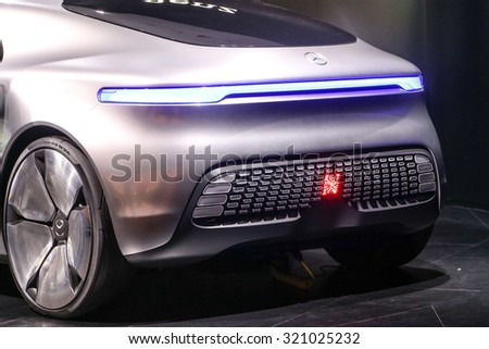 FRANKFURT - SEPT 15: Mercedes Benz F 015 Luxury in Motion Concept shown at the 66th IAA (Internationale Automobil Ausstellung) on September 15, 2015 in Frankfurt, Germany. - stock photo