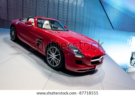 FRANKFURT - SEPT 25:  Mercedes Benz SLS AMG Roadster presented at the 64th Internationale Automobil Ausstellung (IAA) on September 25, 2011 in Frankfurt, Germany. - stock photo