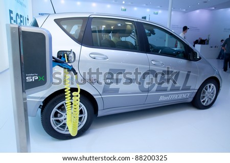 FRANKFURT - SEPT 25:  Mercedes Electric Hybrid Car Charge Station on display at the 64th Internationale Automobil Ausstellung (IAA) on September 25, 2011 in Frankfurt, Germany.