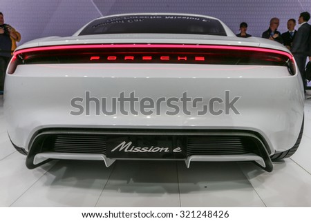 FRANKFURT - SEPT 15: Porsche Mission E Concept Car shown at the 66th IAA (Internationale Automobil Ausstellung) on September 15, 2015 in Frankfurt, Germany. - stock photo