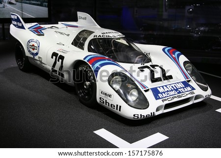 FRANKFURT - SEPT 10: Porsche 917 shown at the 65th IAA (Internationale Automobil Ausstellung) on September 10, 2013 in Frankfurt, Germany. - stock photo