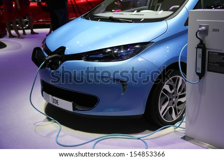 FRANKFURT - SEPT 10: Renault ZOE electro charger shown at the 65th IAA (Internationale Automobil Ausstellung) on September 10, 2013 in Frankfurt, Germany.