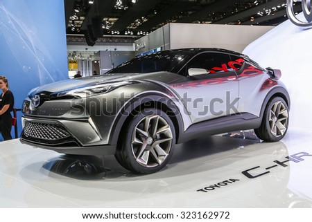 FRANKFURT - SEPT 15: Toyota C-HR Concept shown at the 66th IAA (Internationale Automobil Ausstellung) on September 15, 2015 in Frankfurt, Germany.