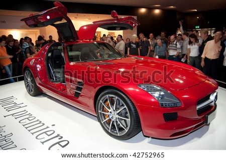FRANKFURT - SEPTEMBER 20: The new Mercedes Benz SLS AMG sportcar at the 63rd IAA (Internationale Automobil Ausstellung) on September 20, 2009 in Frankfurt, Germany