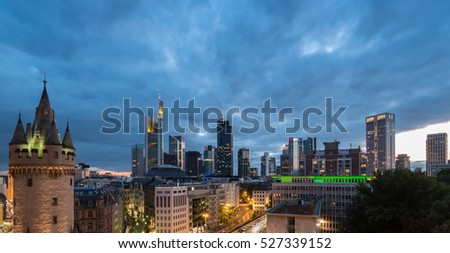 Frankfurt skyline and old town view at dusk, Germany